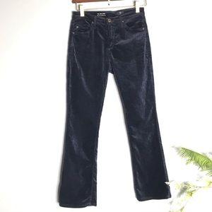AG Jodi Crop High Rise Slim Flare Blue Velvet Pant